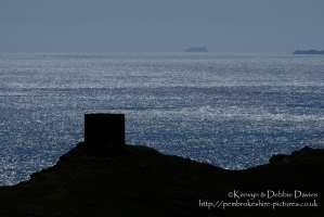 The beacon above the quarry at Abereiddy (Abereiddi), North Pembrokeshire