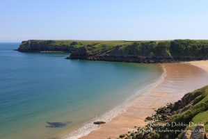 Looking over Barafundle Beach in South Pembrokeshire with Stackpole Head in the...
