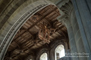 St Davids Cathedral nave ceiling and crucifix