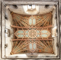 The ceiling of the central tower of St Davids Cathedral taken fron the choi