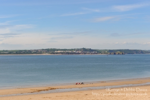 Beach overlooking Priory Bay on Caldey Island off Tenby in West Wales