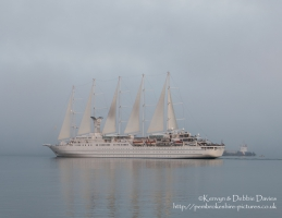 The Windstar Cruises Wind Surf leaving Goodwick, Pembrokeshire