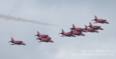 The Red Arrows at RAF Cosford Air Show, 2015